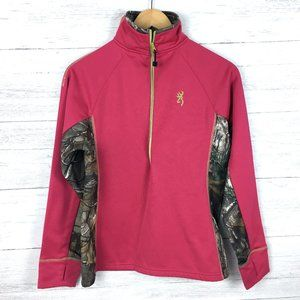 Browning Pink and Camouflage Print Pullover Top